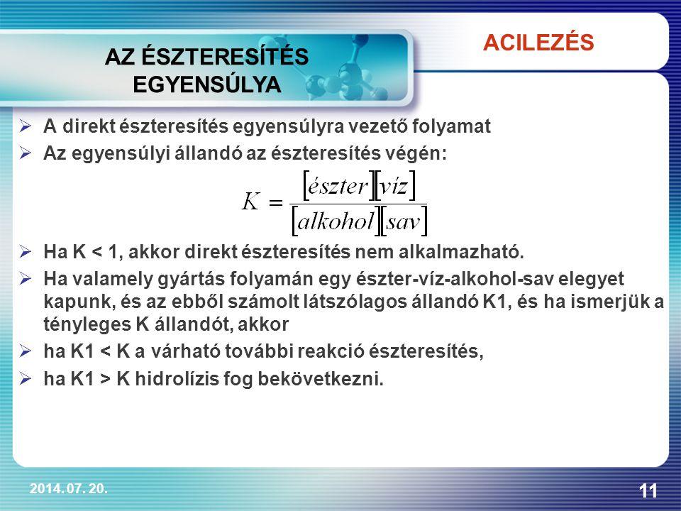 2014. 07. 20. 11  A direkt észteresítés egyensúlyra vezető folyamat  Az egyensúlyi állandó az észteresítés végén:  Ha K < 1, akkor direkt észteresí