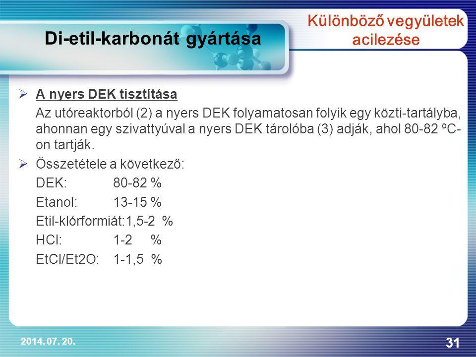 2014. 07. 20. 31  A nyers DEK tisztítása Az utóreaktorból (2) a nyers DEK folyamatosan folyik egy közti-tartályba, ahonnan egy szivattyúval a nyers D