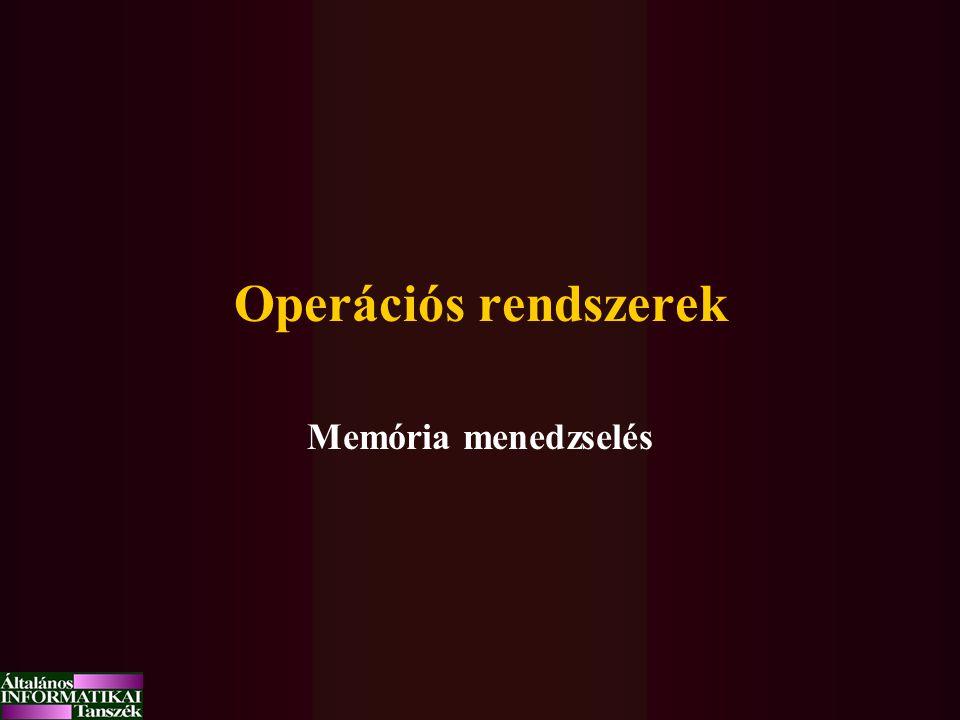 Operációs rendszerek Memória menedzselés