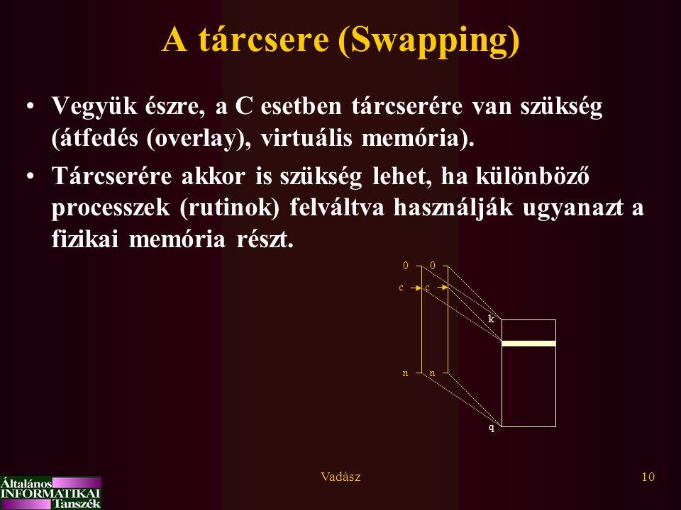 Vadász10 A tárcsere (Swapping) Vegyük észre, a C esetben tárcserére van szükség (átfedés (overlay), virtuális memória). Tárcserére akkor is szükség le