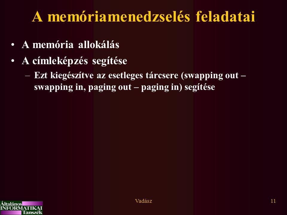 Vadász11 A memóriamenedzselés feladatai A memória allokálás A címleképzés segítése –Ezt kiegészítve az esetleges tárcsere (swapping out – swapping in,
