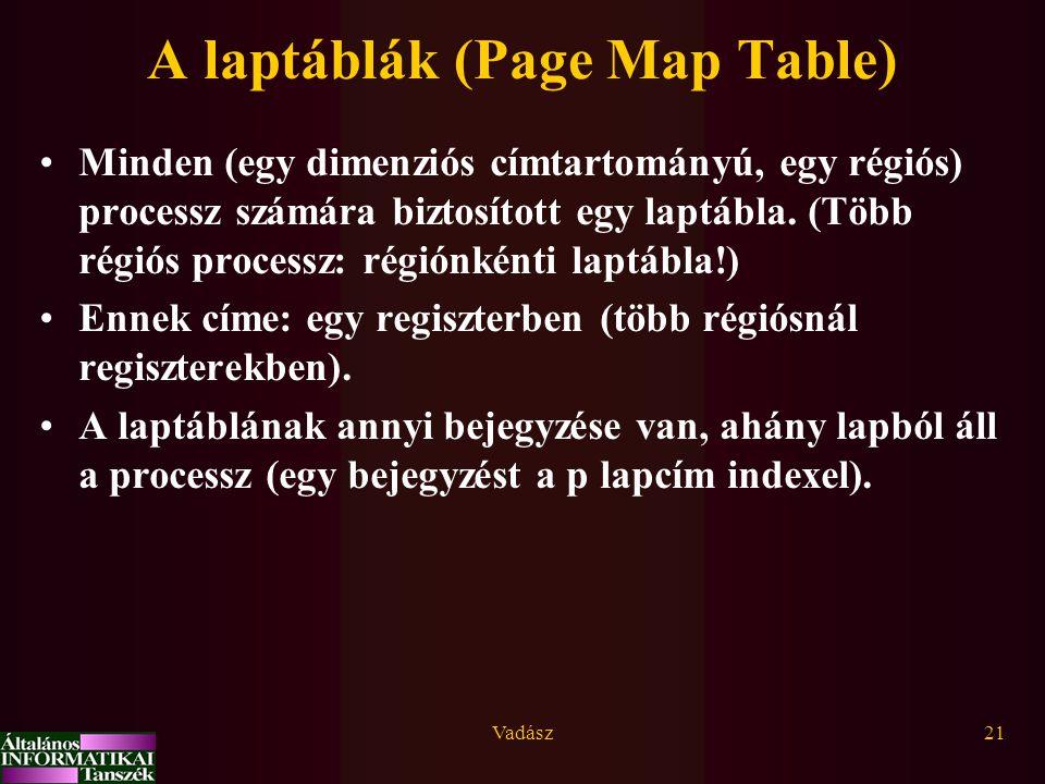 Vadász21 A laptáblák (Page Map Table) Minden (egy dimenziós címtartományú, egy régiós) processz számára biztosított egy laptábla.