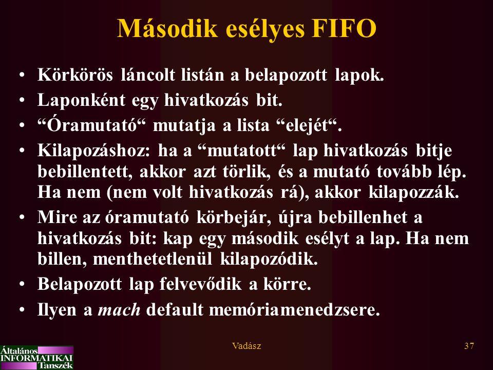 """Vadász37 Második esélyes FIFO Körkörös láncolt listán a belapozott lapok. Laponként egy hivatkozás bit. """"Óramutató"""" mutatja a lista """"elejét"""". Kilapozá"""