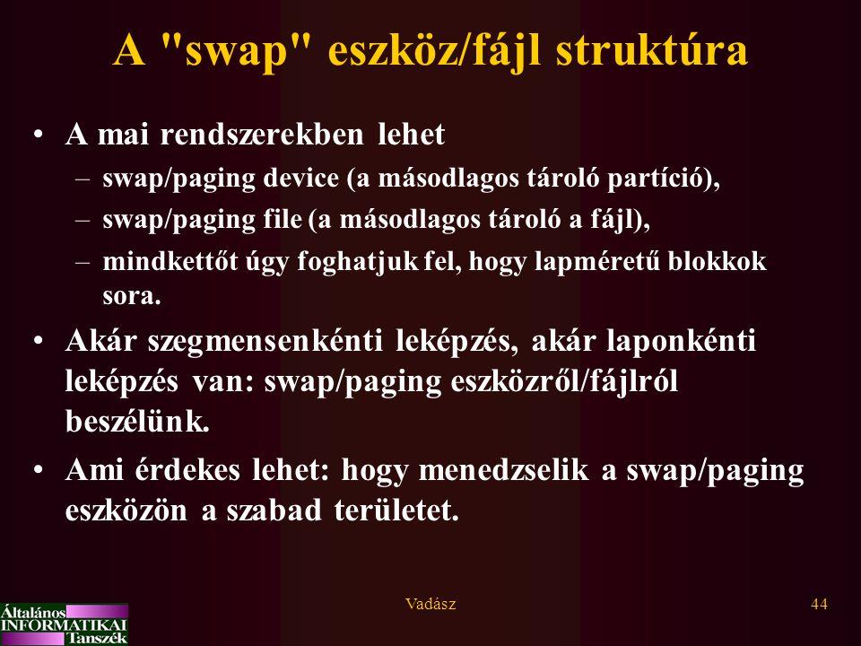 Vadász44 A swap eszköz/fájl struktúra A mai rendszerekben lehet –swap/paging device (a másodlagos tároló partíció), –swap/paging file (a másodlagos tároló a fájl), –mindkettőt úgy foghatjuk fel, hogy lapméretű blokkok sora.