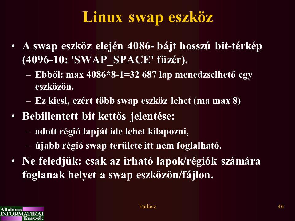 Vadász46 Linux swap eszköz A swap eszköz elején 4086- bájt hosszú bit-térkép (4096-10: 'SWAP_SPACE' füzér). –Ebből: max 4086*8-1=32 687 lap menedzselh