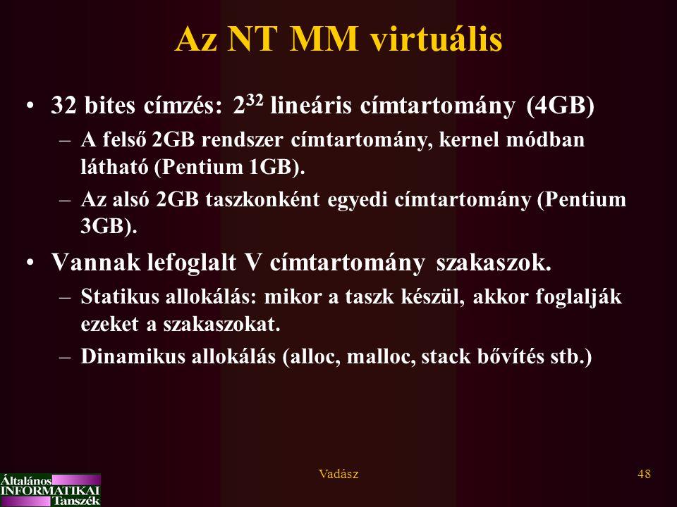 Vadász48 Az NT MM virtuális 32 bites címzés: 2 32 lineáris címtartomány (4GB) –A felső 2GB rendszer címtartomány, kernel módban látható (Pentium 1GB).