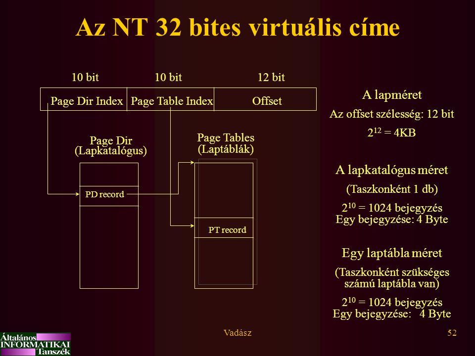 Vadász52 Az NT 32 bites virtuális címe Page Dir IndexPage Table IndexOffset 10 bit 12 bit Page Dir (Lapkatalógus) Page Tables (Laptáblák) PT record PD record A lapméret Az offset szélesség: 12 bit 2 12 = 4KB A lapkatalógus méret (Taszkonként 1 db) 2 10 = 1024 bejegyzés Egy bejegyzése: 4 Byte Egy laptábla méret (Taszkonként szükséges számú laptábla van) 2 10 = 1024 bejegyzés Egy bejegyzése: 4 Byte