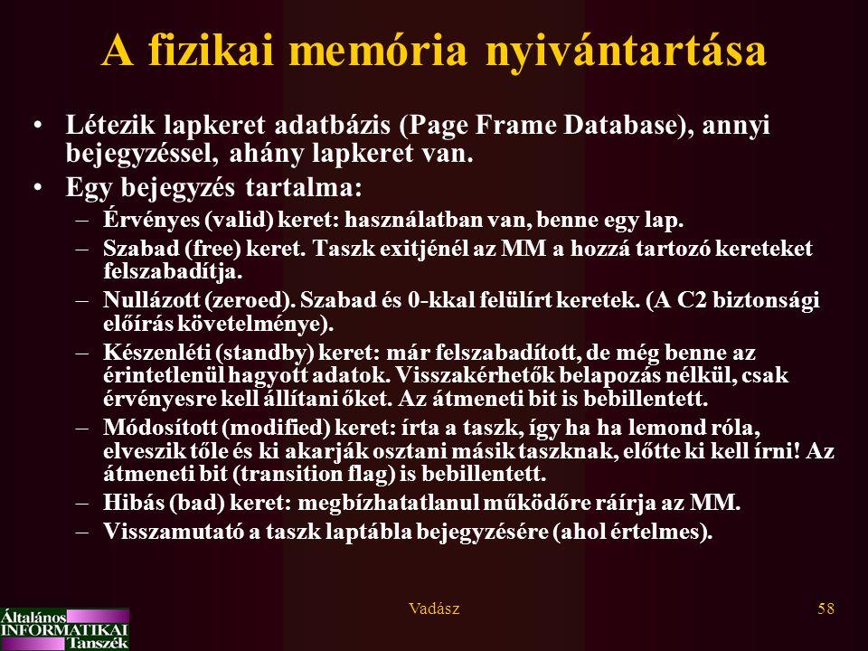 Vadász58 A fizikai memória nyivántartása Létezik lapkeret adatbázis (Page Frame Database), annyi bejegyzéssel, ahány lapkeret van. Egy bejegyzés tarta