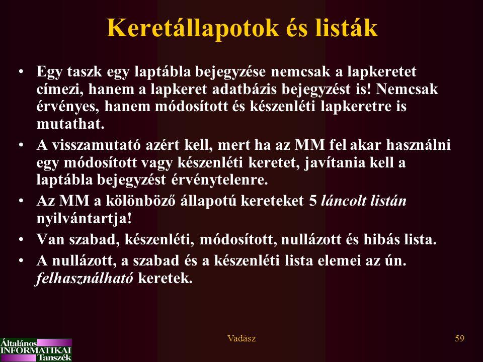 Vadász59 Keretállapotok és listák Egy taszk egy laptábla bejegyzése nemcsak a lapkeretet címezi, hanem a lapkeret adatbázis bejegyzést is.