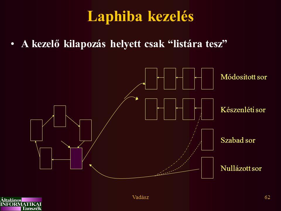 """Vadász62 Laphiba kezelés A kezelő kilapozás helyett csak """"listára tesz"""" Készenléti sor Módosított sor Szabad sor Nullázott sor"""