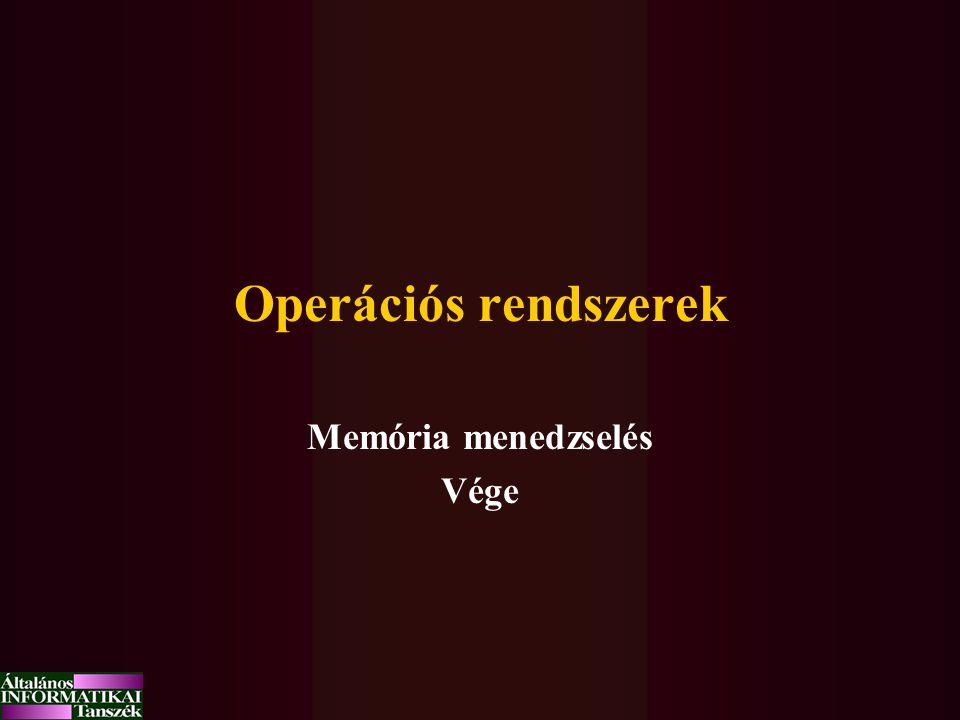 Operációs rendszerek Memória menedzselés Vége