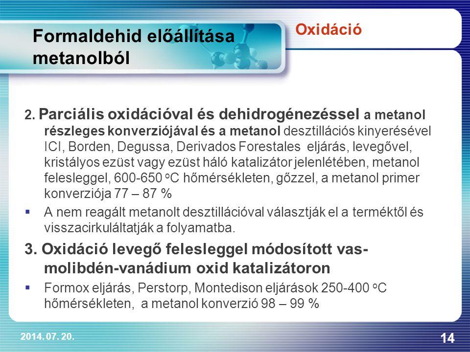 2014.07. 20. 14 Formaldehid előállítása metanolból 2.