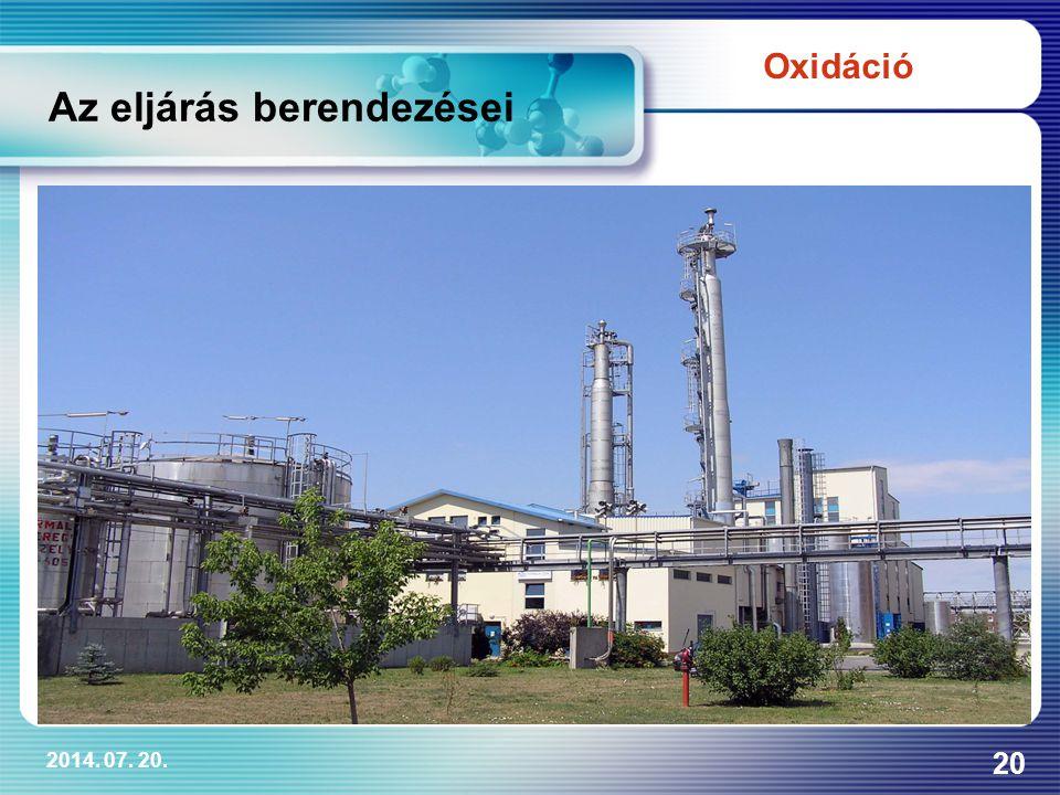 2014. 07. 20. 20 Az eljárás berendezései Oxidáció