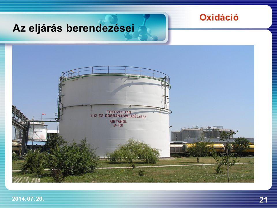 2014. 07. 20. 21 Az eljárás berendezései Oxidáció
