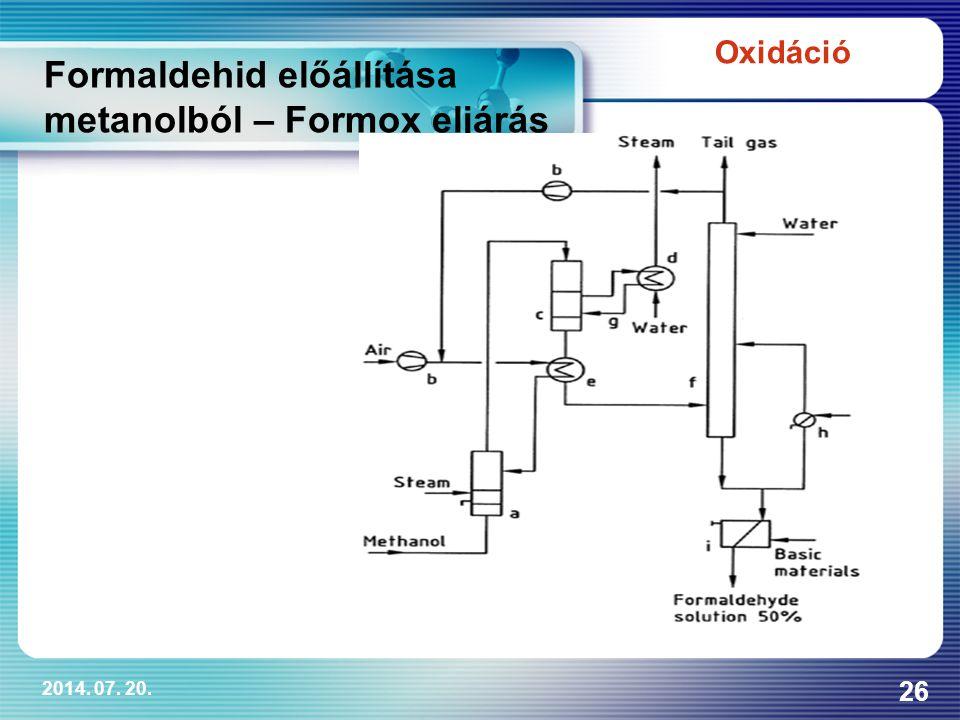 2014. 07. 20. 26 Oxidáció Formaldehid előállítása metanolból – Formox eljárás