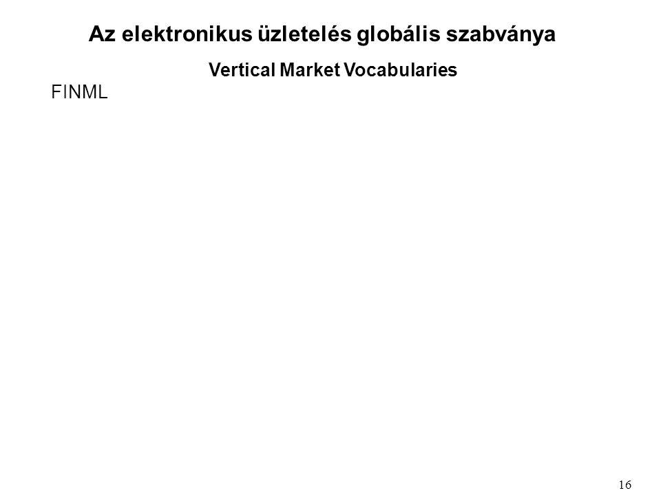 Az elektronikus üzletelés globális szabványa Vertical Market Vocabularies FINML 16