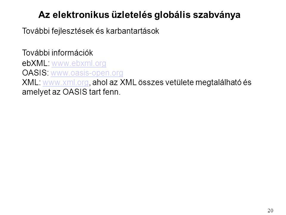 Az elektronikus üzletelés globális szabványa További fejlesztések és karbantartások További információk ebXML: www.ebxml.orgwww.ebxml.org OASIS: www.o