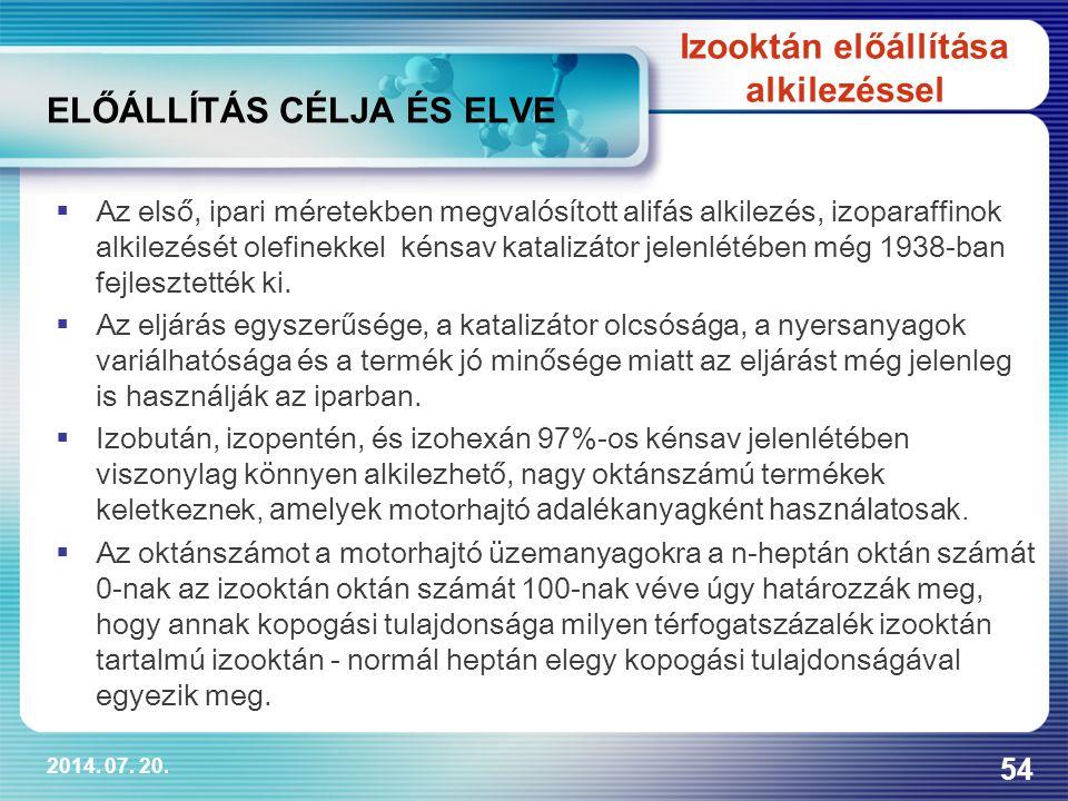 2014. 07. 20. 54 ELŐÁLLÍTÁS CÉLJA ÉS ELVE  Az első, ipari méretekben megvalósított alifás alkilezés, izoparaffinok alkilezését olefinekkel kénsav kat