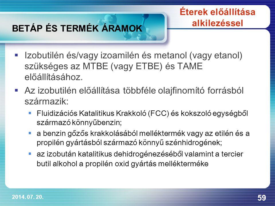 2014. 07. 20. 59 BETÁP ÉS TERMÉK ÁRAMOK  Izobutilén és/vagy izoamilén és metanol (vagy etanol) szükséges az MTBE (vagy ETBE) és TAME előállításához.