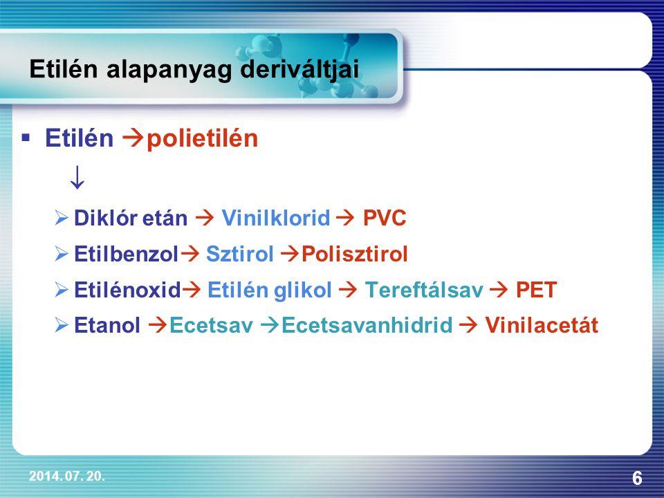 2014. 07. 20. 6 Etilén alapanyag deriváltjai  Etilén  polietilén   Diklór etán  Vinilklorid  PVC  Etilbenzol  Sztirol  Polisztirol  Etilénox
