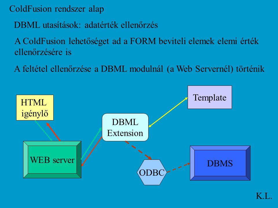 ColdFusion rendszer alap K.L. DBML utasítások: adatérték ellenőrzés A ColdFusion lehetőséget ad a FORM beviteli elemek elemi érték ellenőrzésére is WE