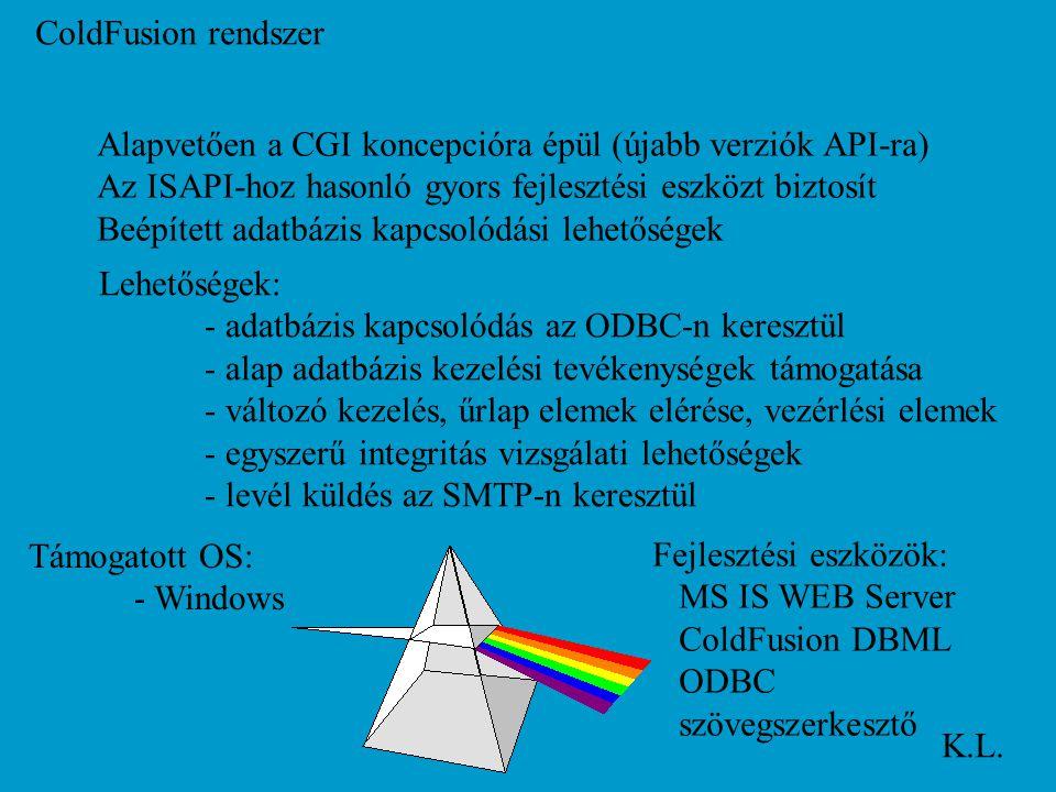 ColdFusion rendszer K.L. Alapvetően a CGI koncepcióra épül (újabb verziók API-ra) Az ISAPI-hoz hasonló gyors fejlesztési eszközt biztosít Beépített ad