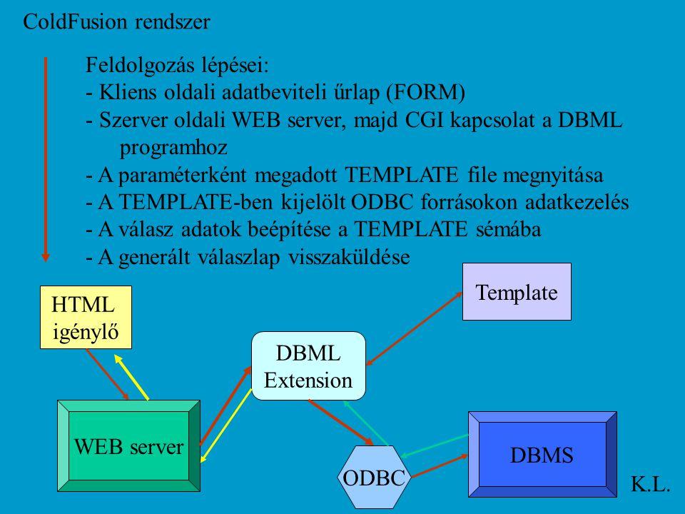 ColdFusion rendszer K.L. Feldolgozás lépései: - Kliens oldali adatbeviteli űrlap (FORM) - Szerver oldali WEB server, majd CGI kapcsolat a DBML program