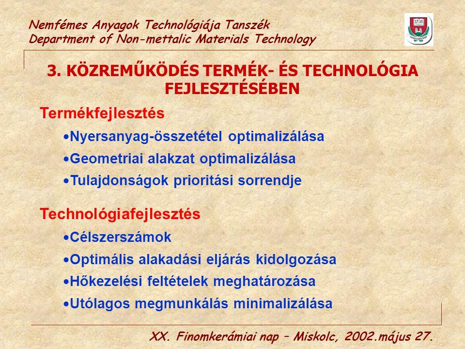 Nemfémes Anyagok Technológiája Tanszék Department of Non-mettalic Materials Technology XX. Finomkerámiai nap – Miskolc, 2002.május 27. 3. KÖZREMŰKÖDÉS