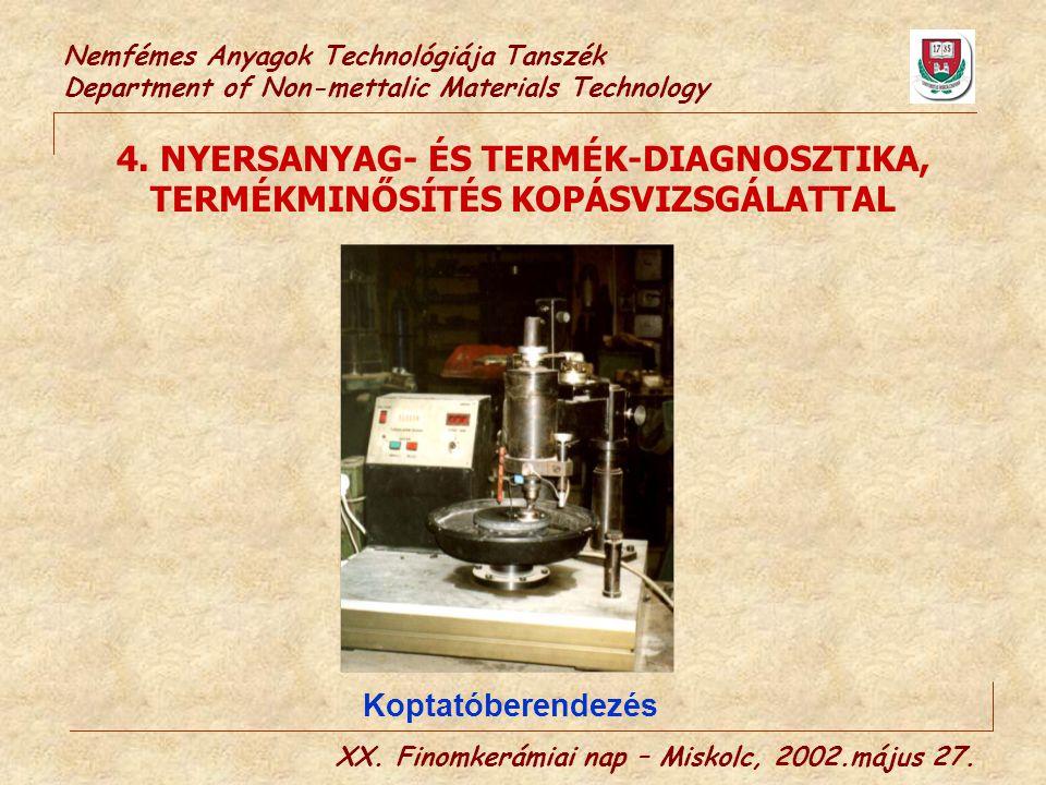 Nemfémes Anyagok Technológiája Tanszék Department of Non-mettalic Materials Technology 4. NYERSANYAG- ÉS TERMÉK-DIAGNOSZTIKA, TERMÉKMINŐSÍTÉS KOPÁSVIZ