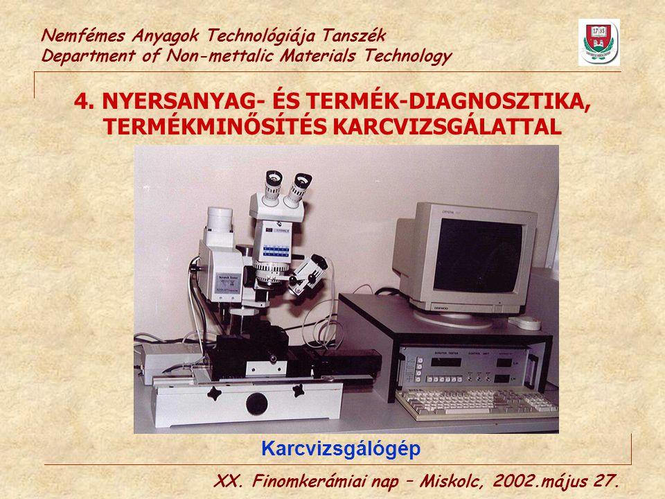 Nemfémes Anyagok Technológiája Tanszék Department of Non-mettalic Materials Technology 4. NYERSANYAG- ÉS TERMÉK-DIAGNOSZTIKA, TERMÉKMINŐSÍTÉS KARCVIZS