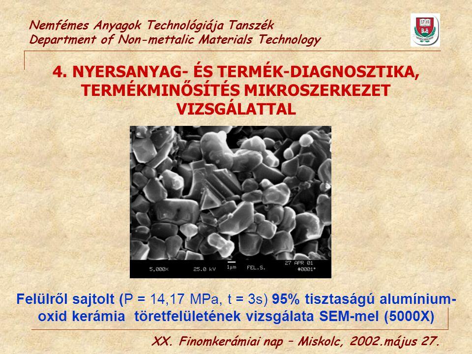 Nemfémes Anyagok Technológiája Tanszék Department of Non-mettalic Materials Technology 4. NYERSANYAG- ÉS TERMÉK-DIAGNOSZTIKA, TERMÉKMINŐSÍTÉS MIKROSZE