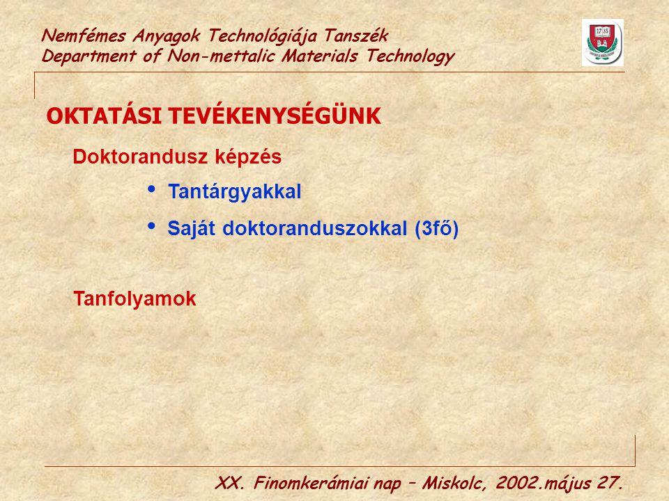 Nemfémes Anyagok Technológiája Tanszék Department of Non-mettalic Materials Technology XX. Finomkerámiai nap – Miskolc, 2002.május 27. OKTATÁSI TEVÉKE