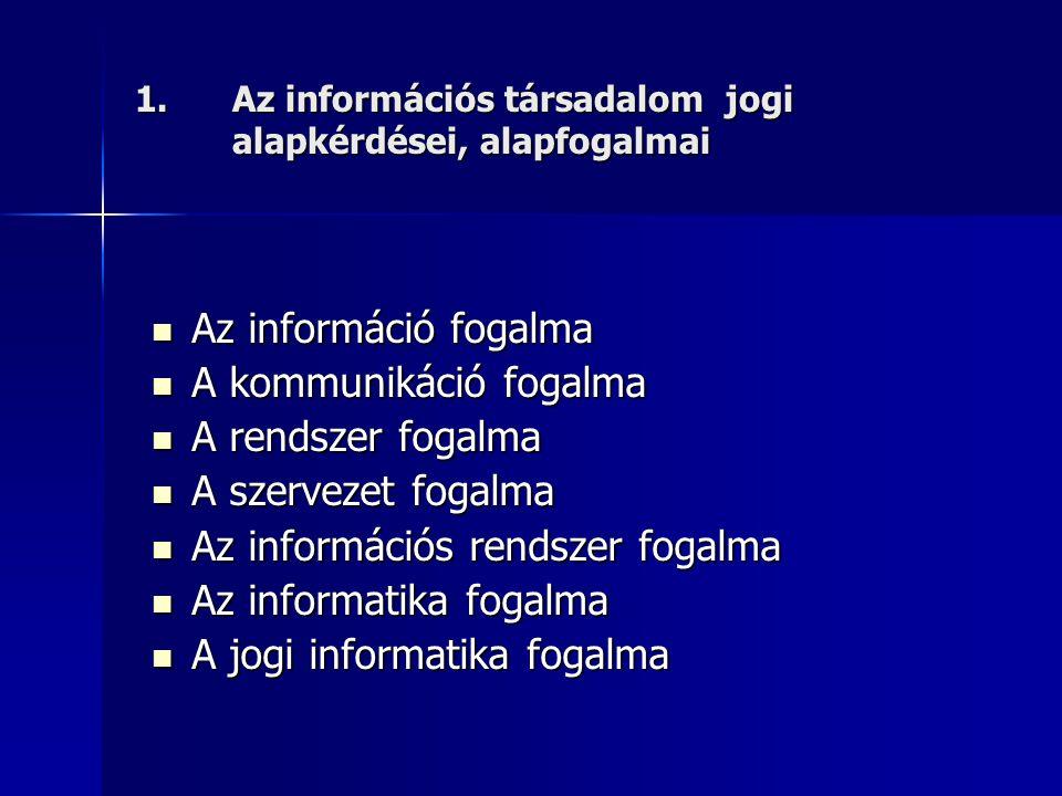1.Az információs társadalom jogi alapkérdései, alapfogalmai Az információ fogalma Az információ fogalma A kommunikáció fogalma A kommunikáció fogalma A rendszer fogalma A rendszer fogalma A szervezet fogalma A szervezet fogalma Az információs rendszer fogalma Az információs rendszer fogalma Az informatika fogalma Az informatika fogalma A jogi informatika fogalma A jogi informatika fogalma