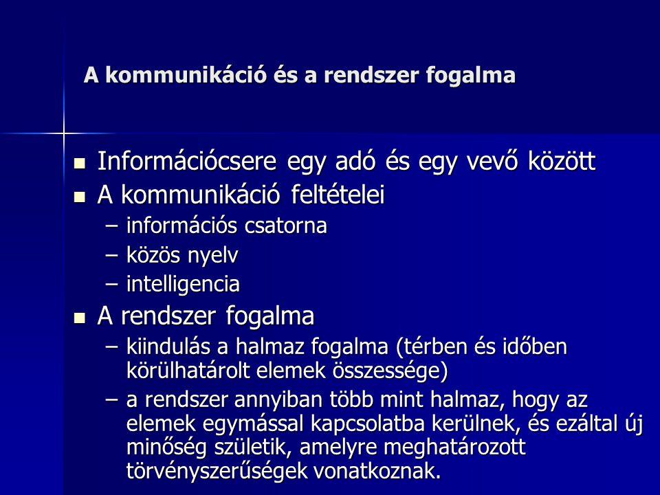 A kommunikáció és a rendszer fogalma Információcsere egy adó és egy vevő között Információcsere egy adó és egy vevő között A kommunikáció feltételei A kommunikáció feltételei –információs csatorna –közös nyelv –intelligencia A rendszer fogalma A rendszer fogalma –kiindulás a halmaz fogalma (térben és időben körülhatárolt elemek összessége) –a rendszer annyiban több mint halmaz, hogy az elemek egymással kapcsolatba kerülnek, és ezáltal új minőség születik, amelyre meghatározott törvényszerűségek vonatkoznak.