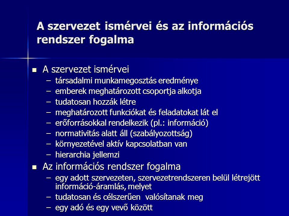 Az informatika fogalma Az informatika fogalma –szorosan összefügg a kibernetikával és a számítógép- tudománnyal, de nem azonos azzal –Def.: Azon tudományos nézetek összessége, amelyek a különböző eszközökkel és módszerekkel, de mindenekelőtt a számítógéppel megvalósított információ- kezelésre vonatkoznak.