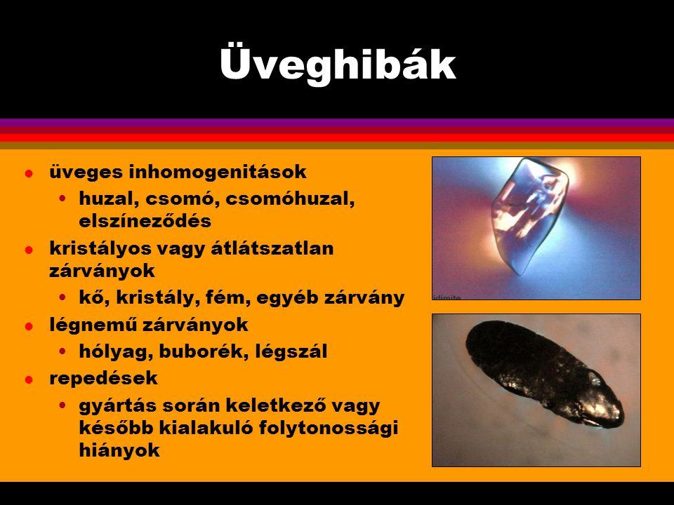 Üveghibák l üveges inhomogenitások huzal, csomó, csomóhuzal, elszíneződés l kristályos vagy átlátszatlan zárványok kő, kristály, fém, egyéb zárvány l