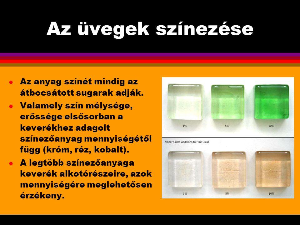 Az üvegek színezése l Az anyag színét mindig az átbocsátott sugarak adják. l Valamely szín mélysége, erőssége elsősorban a keverékhez adagolt színezőa