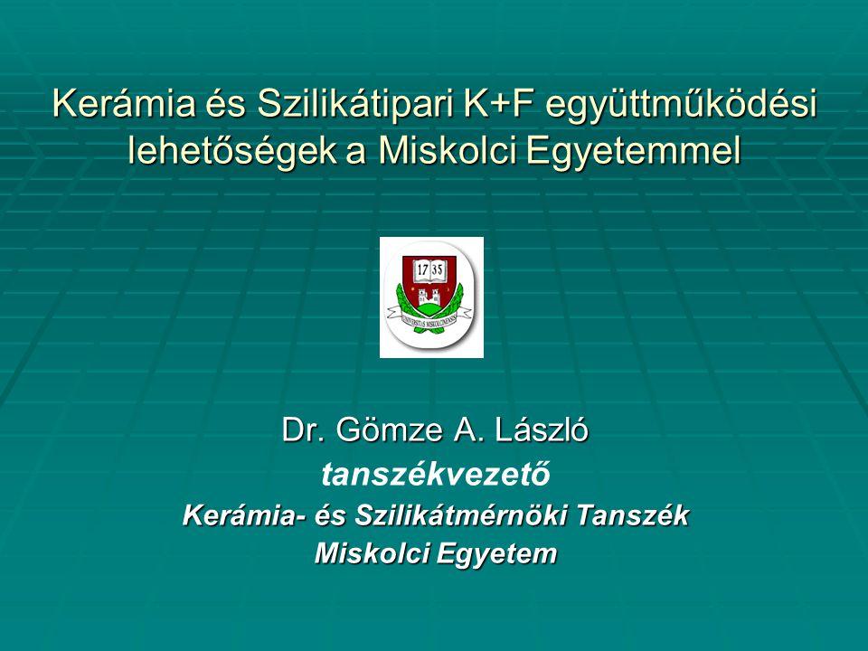 Kerámia és Szilikátipari K+F együttműködési lehetőségek a Miskolci Egyetemmel Dr. Gömze A. László tanszékvezető Kerámia- és Szilikátmérnöki Tanszék Mi
