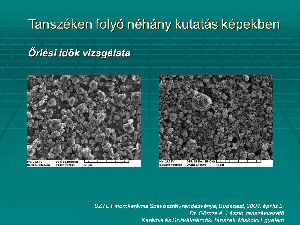 SZTE Finomkerámia Szakosztály rendezvénye, Budapest, 2004. április 2. Dr. Gömze A. László, tanszékvezető Kerámia és Szilikátmérnöki Tanszék, Miskolci