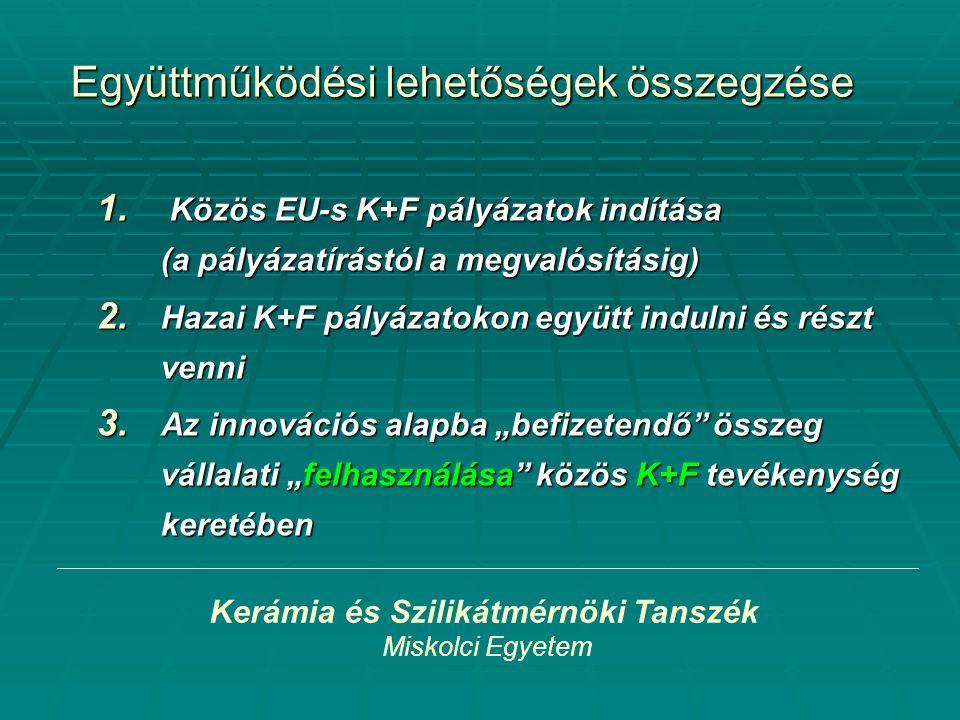 Kerámia és Szilikátmérnöki Tanszék Miskolci Egyetem Együttműködési lehetőségek összegzése 1. Közös EU-s K+F pályázatok indítása (a pályázatírástól a m