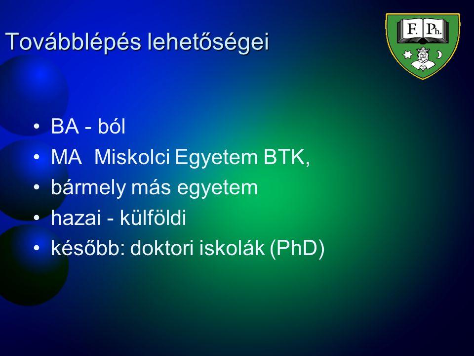 Továbblépés lehetőségei BA - ból MA Miskolci Egyetem BTK, bármely más egyetem hazai - külföldi később: doktori iskolák (PhD)