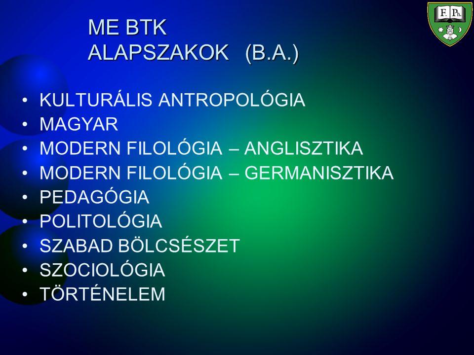 ME BTK ALAPSZAKOK (B.A.) KULTURÁLIS ANTROPOLÓGIA MAGYAR MODERN FILOLÓGIA – ANGLISZTIKA MODERN FILOLÓGIA – GERMANISZTIKA PEDAGÓGIA POLITOLÓGIA SZABAD BÖLCSÉSZET SZOCIOLÓGIA TÖRTÉNELEM