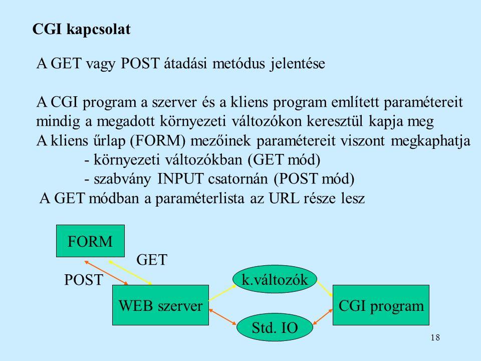 18 CGI kapcsolat A GET vagy POST átadási metódus jelentése A CGI program a szerver és a kliens program említett paramétereit mindig a megadott környez