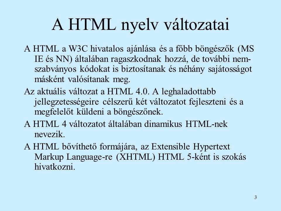 3 A HTML nyelv változatai A HTML a W3C hivatalos ajánlása és a főbb böngészők (MS IE és NN) általában ragaszkodnak hozzá, de további nem- szabványos k