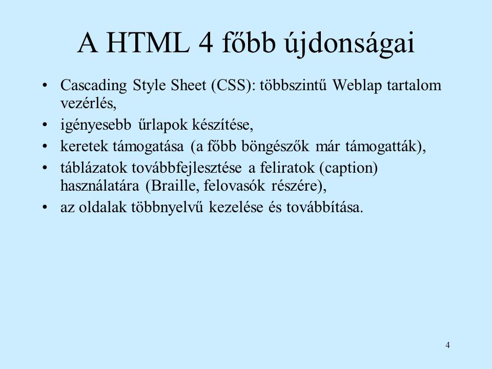 4 A HTML 4 főbb újdonságai Cascading Style Sheet (CSS): többszintű Weblap tartalom vezérlés, igényesebb űrlapok készítése, keretek támogatása (a főbb
