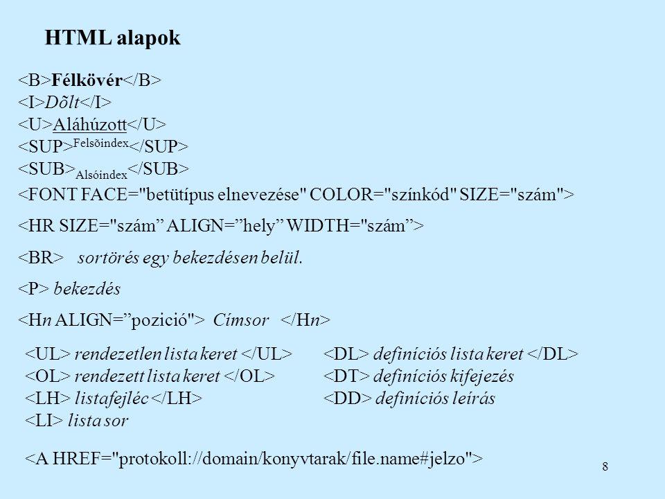 9 HTML alapok Táblázat címe táblázati sor oszlop-/sorfejléc <TD COLSPAN= szám ROWSPAN= szám ALIGN= hely VALIGN= hely WIDTH= % vagy pixel HEIGHT= % vagy pixel >