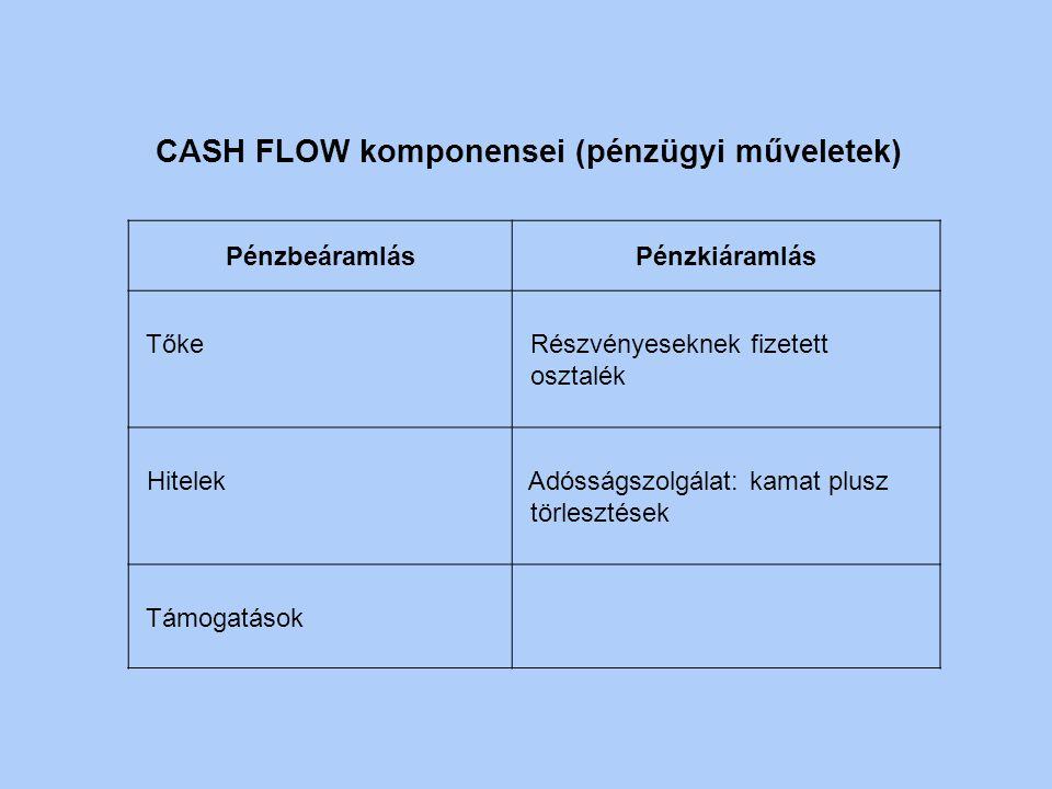 CASH FLOW komponensei (nem pénzügyi műveletek) PénzbeáramlásPénzkiáramlás Termékek értékesítéséből származó bevétel Tőkeköltségek (beruházás) Használa