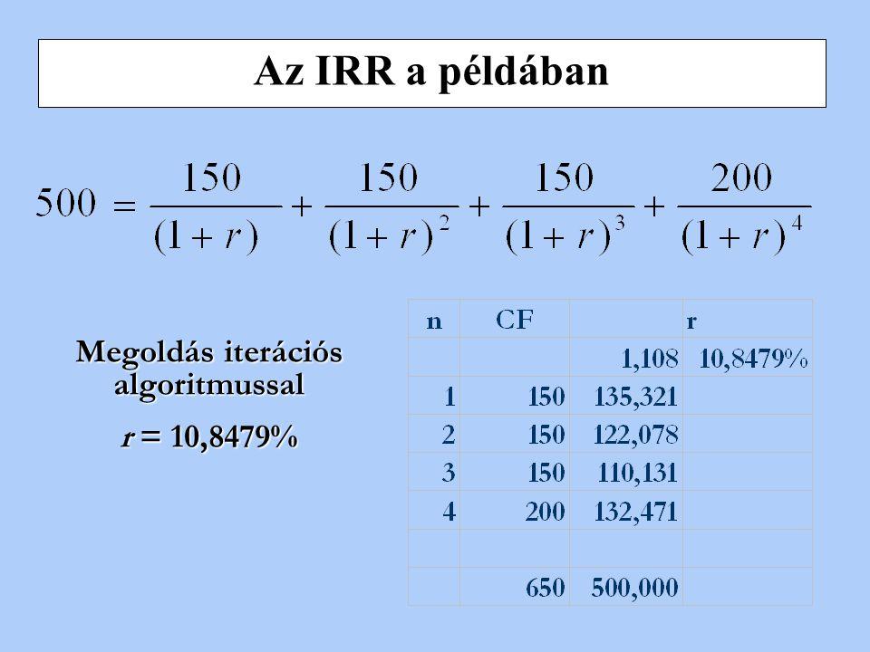 egy hányados, amely a belső kamatláb és a piaci kamatláb viszonyát fejezi ki. (A belső kamatláb az a leszámítolási mutató (r), amely mellett egy adott