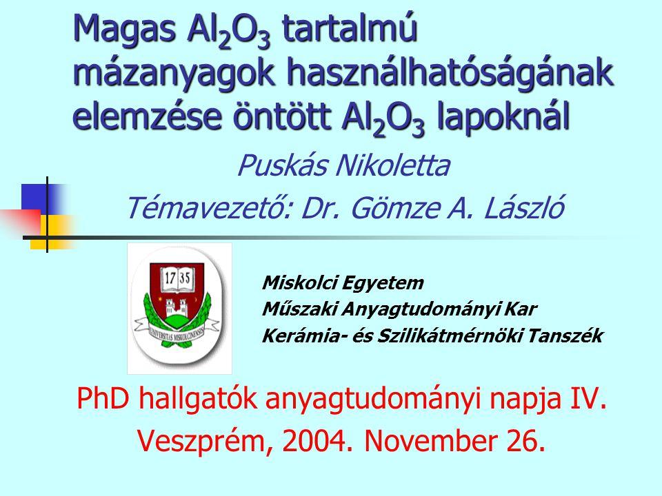 Magas Al 2 O 3 tartalmú mázanyagok használhatóságának elemzése öntött Al 2 O 3 lapoknál Puskás Nikoletta Témavezető: Dr. Gömze A. László Miskolci Egye
