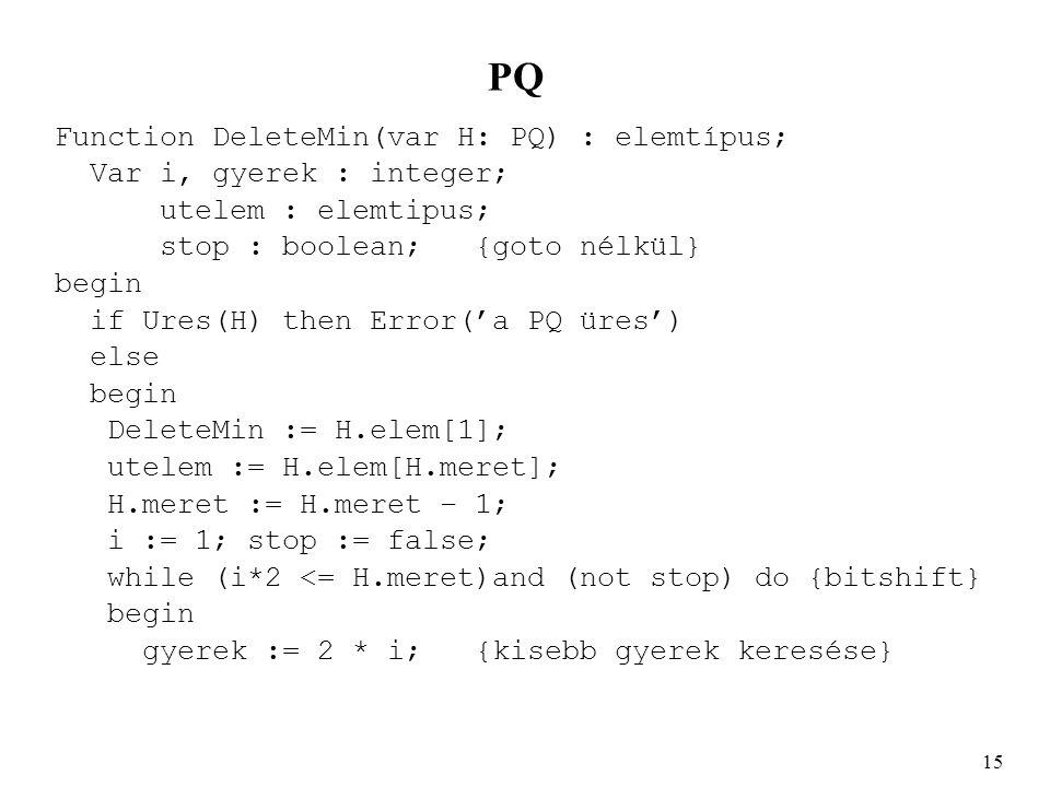 PQ Function DeleteMin(var H: PQ) : elemtípus; Var i, gyerek : integer; utelem : elemtipus; stop : boolean;{goto nélkül} begin if Ures(H) then Error('a